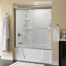 delta simplicity 60 in x 58 1 8 in semi frameless sliding bathtub door in nickel with clear glass 2435517 the home depot