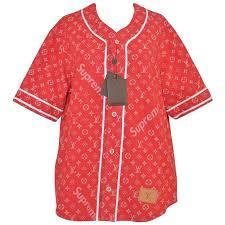 louis vuitton shirt. supreme x louis vuitton all over monogram denim baseball jersey red sz medium 1 shirt