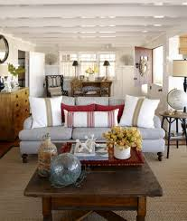 Grey Sofa With Cushions Also Brwon Living Table Also Carpet And White  Coffered Ceiling Design Idas ...