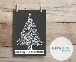 Merry Christmas Tree Paper Cutting Template