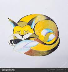 лиса эскиз эскиз лиса который завитые вверх и спит стоковое фото