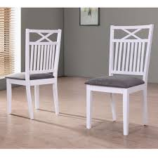 white wood dining chairs. Melbourne Island Pair Of White Dining Chairs With Grey Fabric Seat Pad Wood K