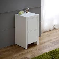 White High Gloss Slim 2 Drawer Bedside Table