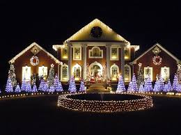 Beautiful Light Display on large Mansion night lights outdoors house  decorate display christmas