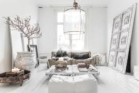 white furnishings and fireplace