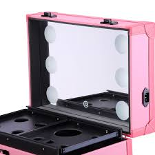 pro rolling cosmetic multifunction makeup case w lights mirror telescopic legs 4 wheels pink 4 yesusa aw rolling studio