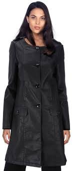 knee length stylish collarless leather coat for women