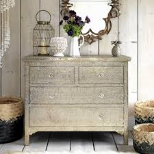 Embossed White Metal Chest Of Drawers