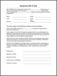 example of bill of sale equipment bill of sale form