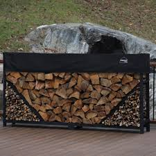 firewood log rack with kindling holder and water resistant cover