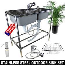 stainless steel outdoor sink. Image Is Loading OUTDOOR-DOUBLE-BOWL-STAINLESS-STEEL-SINK-FOR-BBQ- Stainless Steel Outdoor Sink N