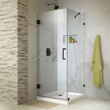 frameless hinged corner shower enclosure in satin