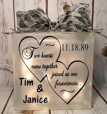 home decor lighted glass block 6x6 two hearts come together joined as one forevermore wedding gift bride anniversary gift for couple