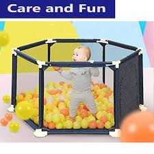 play yard safety gate playpen kids infant baby door fence panel in out door sw