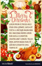 christmas dinner poster merry christmas dinner cuisine poster royalty free vector