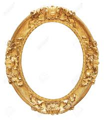 oval mirror frame. Gold Vintage Oval Frame Isolated On White Background Mirror
