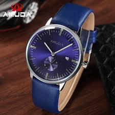 amuda brand watch men casual sport wrisch blue face fashion watch genuine leather strap military clocks