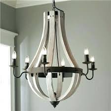 world market gray wood and iron valencia chandelier wooden wine barrel stave available in 9 colors