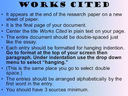 works cited it appears at the end of the research paper on a new  1 works