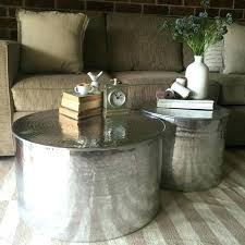 round drum coffee table silver drum coffee table coffee table metal drum coffee table round metal