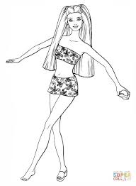 Barbie In A Swimsuit Coloring Page Free Printable Coloring Pages