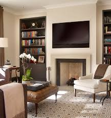 recessed tv above fireplace and bookshelves to those in family room minus the dark color