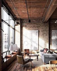 brick living room furniture. Inspiring Industrial Living Room Furniture Tables Lamp Shelves Bohemian Boho White Brick Wall Brown Armchair Grey Couch E