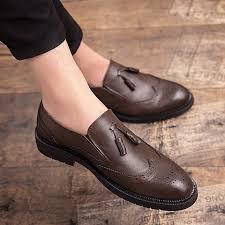 eur size 38 46 fashion leather shoes men carved tassel shoes oxford shoes for men