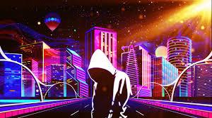 1920x1080 science fiction, cyberpunk, motorcycle, cityscape, neon. Neon City Wallpaper 1920x1080 Hd