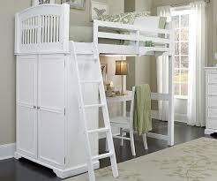 Locker Room Bedroom Furniture Twin White Locker Loft Bunk Bed With Desk 8060 Desk And 8060 Desk