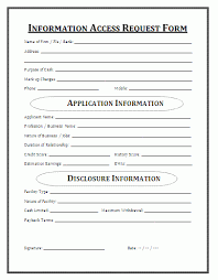 Information Access Request Form Loan Application Sample