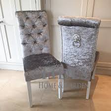 crushed velvet dining chair with crystal ons and lion pull ring on back with chrome studding