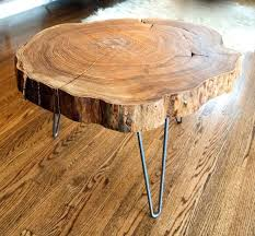 custom made natural live edge round slab side table coffee table with steel legs