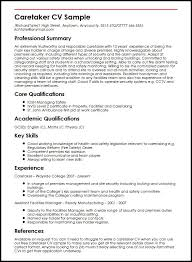 Examples Of Qualifications For Resumes Caretaker Cv Sample Myperfectcv
