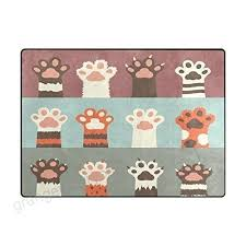 paw print rug funny cartoon cat area rugs for living room bedroom shaped paw print rug