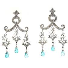 bluetopaz briolette diamond gold dangle chandelier earrings for
