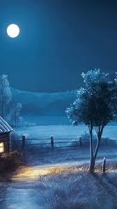 Art Moon Blue Night Trees House 4K ...