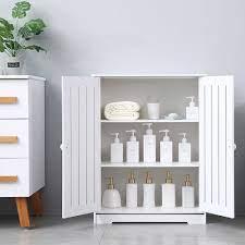 Bathroom Storage Floor Cabinet Upgraded Pvc Floor Storage Cabinet Waterproof Living Room Modern Home Furniture With 2 Doors 3 Tier Shelves Free Standing Storage Cabinet 25 X 12 X 31 5 Q3881 Walmart Com