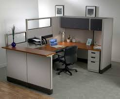 Furniture Classy Brown Wooden L Shaped Computer Desk With Grey