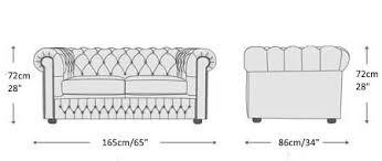 chesterfield sofa dimensions.  Dimensions 2 Seat Straight Armed Chesterfield Sofa Throughout Dimensions E