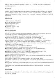 Resume Templates: Military Contractor