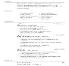 Objective For Legal Assistant Resume Legal Secretary Resume Legal