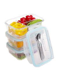 divided glass container w locking lid
