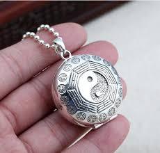 thai 925 silver taichi bagua buddhist prayer box pendant