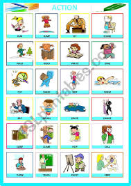 Verb Action Action Verb Pictionary Esl Worksheet By Mimib21