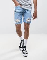 Light Blue Jean Shorts Mens Pull Bear Distressed Denim Shorts In Light Wash Blue