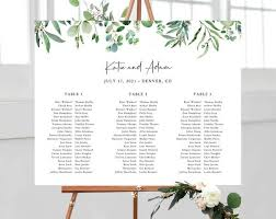 Seating Chart Wedding Sign Greenery Wedding Seating Chart Long Tables Seating Chart Printable Seating Chart Template Seating Board Wedding Sign Templett W48