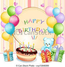 birthday cake and balloons and gifts.  Gifts Birthday Card  Csp13846089 For Cake And Balloons Gifts K