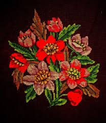 vintage french woolwork embroidery