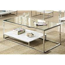 Furniture Of America Gacelle Contemporary Glass Top Coffee Table, White